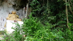 Buddha statue at the Pak Ou Caves, Laos Stock Footage