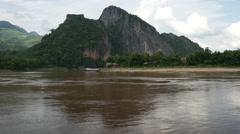 Mountain across the Pak Ou Caves, Laos Stock Footage