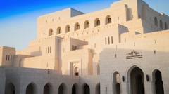 High Angle Day to Night timelapse of the Royal Opera House Muscat Stock Footage