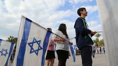 Israeli kids with flags Stock Footage