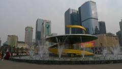 Timelapse of Tianfu Square central business district in Chengdu, Sichuan, China Stock Footage