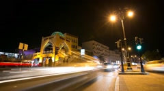 Night-time Timelapse of traffic on Al Bahri Road next to Mutrah Souk Stock Footage