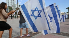 Bnei Akiva youth with flags of Israel Stock Footage