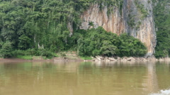 Mountain landscape view from the mekong river, Laos Stock Footage