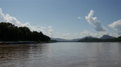 The mekong river in Luang Prabang, Laos Stock Footage