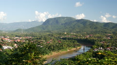 Luang Prabang City view from Mount Phou Si Stock Footage
