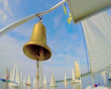 Closeup of shiny bronze bell on yacht, traditional decoration, click for HD Stock Footage