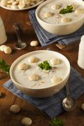 homemade new england clam chowder - stock photo