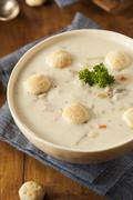 Homemade new england clam chowder Stock Photos