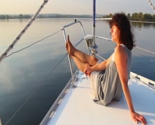 Young beautiful girl enjoying vacation on luxury yacht, tourism, click for HD Stock Footage