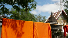 Stock Video Footage of Orange monk robes at Wat aham luang prabang