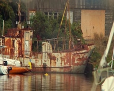 Old rusty ship in harbor, abandonment, destruction, wrecks, click for HD Stock Footage