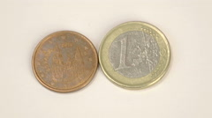 Two spain euro coins 2010 version and a 1 euro coin Stock Footage