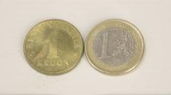 1 estonian old gold coin and a new 1 estonia euro coin Stock Footage