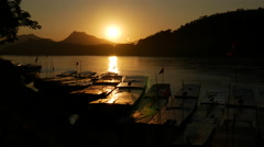 Sunset at the Mekong river in Luang Prabang, Laos Stock Footage