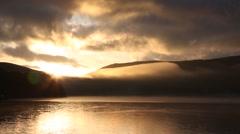 Sunrise at Lake Yamanakako Stock Footage