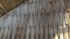 front view of the wooden shingles of the house - stock footage