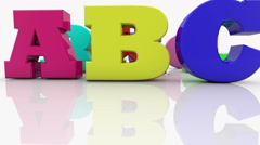 Stock Video Footage of Colorful mixed different letters with word ABC
