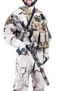 bearded special warfare operator - stock photo