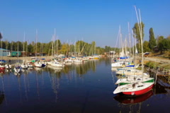 Quiet harbor, many yachts and boats. Outdoor activities, sport, click for HD Stock Footage
