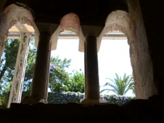 Apertures of windows in the temple Stock Footage