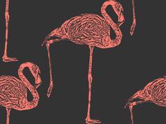 Vector vintage illustration of a pink flamingo. seamless animal Stock Illustration