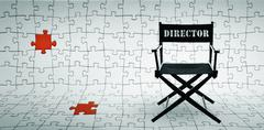 Director chair on jigsaw puzzle background Stock Photos