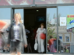 People go to shopping center. Related clips are in my portfolio in 1920x1080. - stock footage