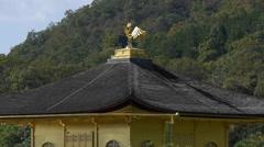 Phoenix atop Golden Pavilion at Kinkakuji in Kyoto, Japan - stock footage