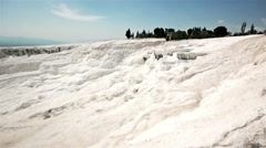 Water On Calcium Wall In Pamukkale Stock Footage