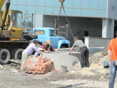 Installation of the base. Related clips are in my portfolio in 1920x1080. - stock footage