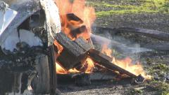 Car and wood on fire 01 Stock Footage