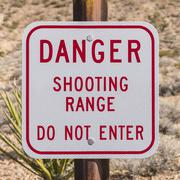 danger shooting range sign - stock photo