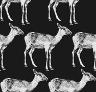 vector  illustration of a goat or antelope. seamless animal patt - stock illustration