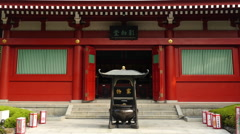 Zoom out of Side Temple at Sensoji Temple  -  Tokyo Japan Stock Footage