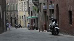 Siena Italy historic sidewalk cafe tourists 4K 009 Stock Footage