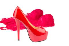 Red high heels and underwear Stock Photos