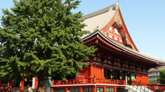 Zoom out of Main Temple at Sensoji Temple  -  Tokyo Japan Stock Footage