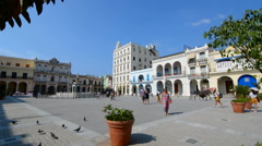 Cuba Havana Habana Plaza Old Square Vieja Square with buildings Stock Footage