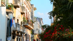 Cuba Havana Habana old beautiful buildings on street with flowers Stock Footage