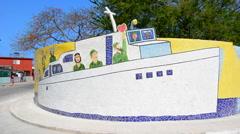 Havana Cuba Wild Ceramics of Fidel boat in Revolution in neighborhood done by Stock Footage