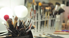 Brush set for make-up on table Stock Footage