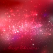 Merry Christmas. shiny red holiday background with lights, spark - stock illustration
