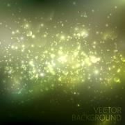 Green sparkling background with glowing sparkles and glitters. S Stock Illustration