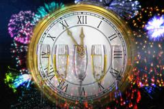 Composite image of clock counting down to midnight Stock Illustration