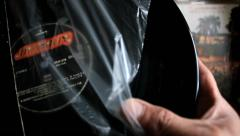 Man Looking At Old Vinyl Records. Browsing The Records In Lp Collection Stock Footage