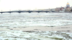 The course of the ice on the river Neva Stock Footage