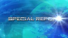 Special Report 4K Animation - Lens Flare Reveals Text - Blue Stock Footage
