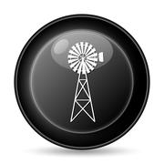 classic windmill icon. internet button on white background.. - stock illustration