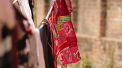 Kathmandu Nepal clothes hang to dry on clothes line in Eastern Kathmandu, Nepal Stock Footage